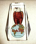 Rare Case Ih Magnum Tractor Eagle Cut Crystal Paperweight