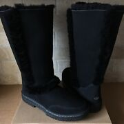 Ugg Sundance Tall Ii Revival Black Suede Fur Boots Size Us 11 Womens