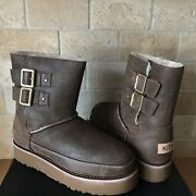 Ugg X Kith Buckle Boot Brown Bomber Leather Fur Boots Womens Size Us 7