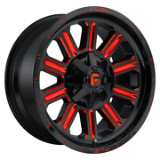 4-fuel 1pc Hardline Gloss Blk Red Tinted Clear 22x10 Chevy gm Hd Rims 8x180 -18