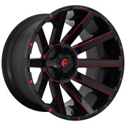 4-fuel 1pc Contra Gloss Black Red Tinted Clear 22x10 Rims Ram Hd Gm 8x6.5-18