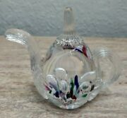 Vintage 1995 Gibson Teapot Paperweight Multicolor