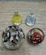 Glass Paperweight Lot Of 4 Gibson Dunlavy Multicolor