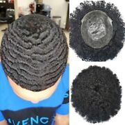 Afro Curly Mens Toupee Full Poly Skin Hairpiece Black Man Human Hair System Unit