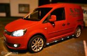 Side Bars + White Led For Volkswagen Caddy Maxi 2015+ Polished Stainless Steel