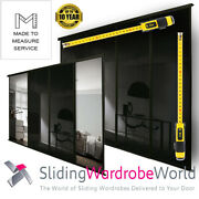 Made To Measure Black Glass And Mirror Sliding Wardrobe Door Kits And Soft Close