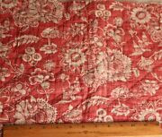 Turkey Red Antique 18thc Floral Resist Dyed Linen Quilted Fabricl-12x W-30