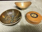 3 Antique/vintage Hand Carved Wooden Bowls Beautifully Handmade Different Woods
