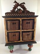 House Of Hatten Mackenzie Childs Style Apothecary Cabinet Basket Peggy Fairfax