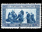 86879 Postage Stamp Italy Vintage St Francis Death Decor Laminated Poster Ca