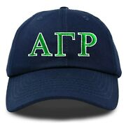Alpha Gamma Rho Fraternity Greek Letters Ball Cap Embroidered Hat Navy Blue