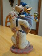 New Signed Vaillancourt Folk Art Father Christmas With Mickey And Friends Disney