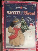 Christopher Radko Shiny Brite Breezy Tweed Snowman Hand Painted Candle