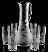 Set Carafe+6 Etched Glasses Of Bohemia With Animals Boar Pheasant Deer Gift New