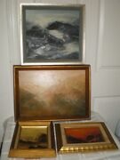 White Signed 4 Original Abstract Oil On Board Paintings Mountains Landscape