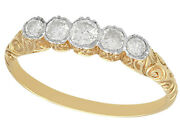 Antique 0.42ct Old Cut Diamond 14k Yellow Gold Five Stone Ring 1920 - Size 7