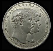 1882 Marriage Of The Duke Of Albany Preston Guild White Metal Medal - By Wyon