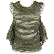 Alexander Mcqueen S/s 2003 Irere Olive Green Silk Chiffon Lace Back Blouse
