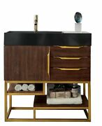 Columbia 36 Single Vanity, Coffee Oak, Radiant Gold W/glossy White Solid Sur...
