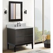 37 Single Wall Mount Vanity In Linen Gray Finish Top With Gray Granite And R...