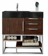 Columbia 36 Single Vanity, Coffee Oakw/glossy White Solid Surface Top