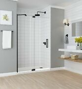 Aston Madox Frameless Pivot-hinged Shower Door With Starcast Clear Glass 54 ...