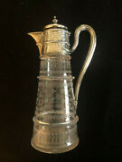 Martin Hall And Co London England Cir 1876 Sterling Silver Etched Glass Pitcher