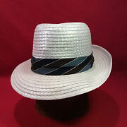 White Bee Hats Straw Fedora Men's Vintage Hat With Blue And Brown Band -- Size 7