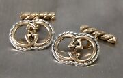 Vintage 18k Gold Double Gs 925 Rope Cufflinks Ultra Rare Minty
