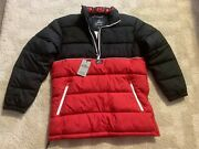 Hollister Menand039s Oversized Half-zip Puffer Jacket Black And Red Size M Brand New