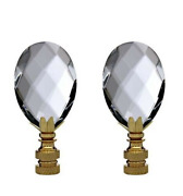 2 Clear Crystal Lamp Finials With Brass Base - Tap 1/4-27
