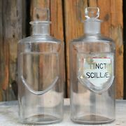 Antique Victorian Apothecary Bottles Chemist Jars Glass Label Shield Two E