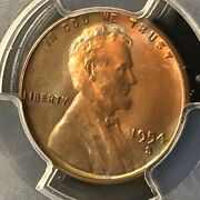 1954-s 1c Rb Lincoln Wheat One Cent Pcgs Ms66rb Rainbow Toning  34008606
