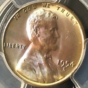 1954-s 1c Rb Lincoln Wheat One Cent Pcgs Ms66rb Rainbow Toning  34008611