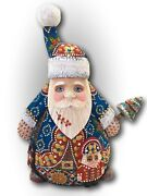 """8.75"""" Tall Unique Shape Russian Santa W/ Nutcracker Hand Carved Hand Painted"""