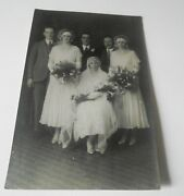 Antique Rppc Postcard Wedding Party Of 6 Beautiful Dresses Flowers British Made