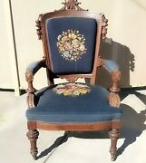Antique Victorian Wood Carved Arm Chair Parlor Chair Needlepoint Floral