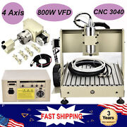 4 Axis 800w Cnc 3040 Router Engraver Drill Mill Machine Spindle Motor Cutter Dhl