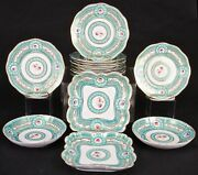 Sevres-style Hand-painted Green Service 14 Pieces French