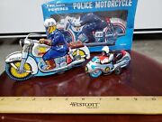 Vintage Tin Friction Motorcycles Tt Made In Japan Tin Toy Lot Of 3