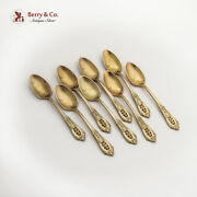 Rose Point Gilt Demitasse Spoons Set Wallace Sterling Silver 1934 Mono L