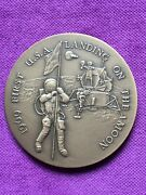 Beautiful Antique And Rare Bronze Medal Of 1st Usa Landing On The Moon1969