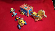 Lot 1940and039s Vintage Fisher Price Wooden Pull Toys. 2 Different Ducks