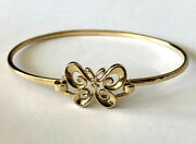 Retired James Avery 14k Yellow Gold Ladies Butterfly Hammered Bracelet Bangle