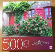 """Big Ben Mb Puzzle Hasbro Spinmaster 500 Pc Village House Red Door 18"""" By 24"""""""