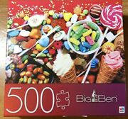 """Big Ben Mb Puzzle Spinmaster 500 Pc Candies With Jellies And Sugar 18"""" By 24"""""""