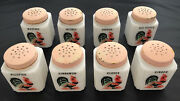Lot/set Of 8 Mckee Tipp City White Milk Glass Rooster Spice Jar Shakers Vintage