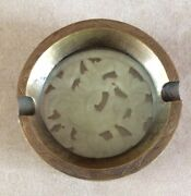 Vintage Chinese Brass And Jade Ashtray