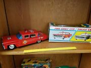 Vintage Yonezawa Tin Battery Op Fire Chief Car Made In Japan In Box Tin Toy Lot