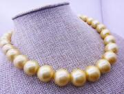 Top Huge 12-15mm Natural South Sea Genuine Golden Round Pearl Necklace And 18 Aa
